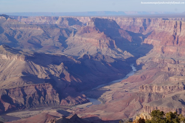 View of Colorado River from the Desert View Lookout in Grand Canyon National Park in Arizona.