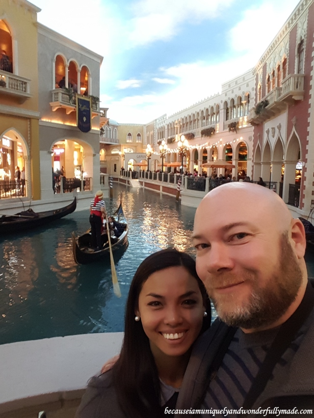 Enjoying the gondolas inside the The Venetian in Las Vegas.