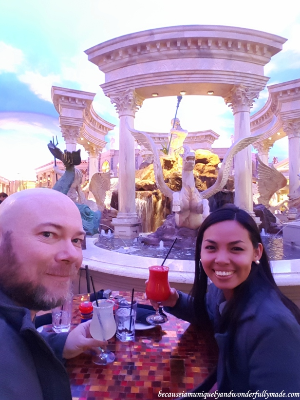Having a drink inside the Forum Shops at Caesar's Palace Las Vegas.