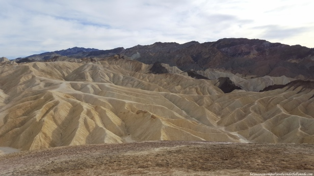The landscape surrounding Zabriskie Point at Death Valley Natinal Park was formed by sediment from a dried-up lake.