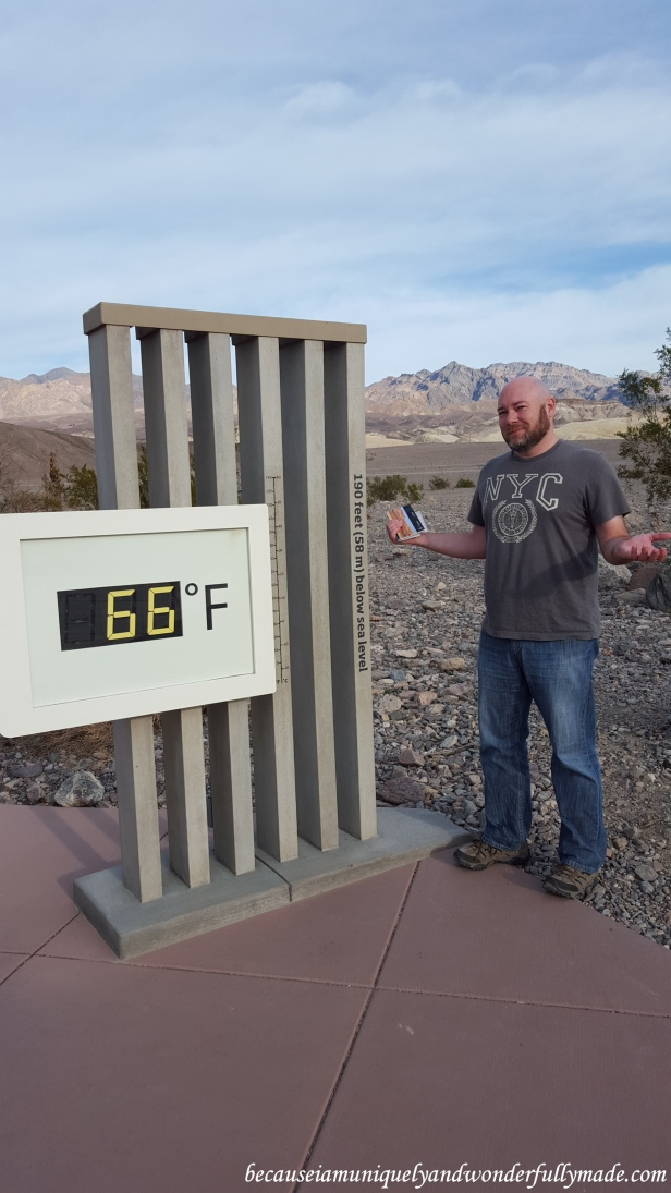 Outside the Furnace Creek Visitor Center in Death Valley National Park in California, standing at 190 feet (58 m) below sea level.