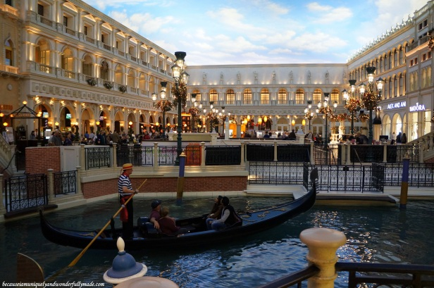 The gondolas inside the The Venetian in Las Vegas.