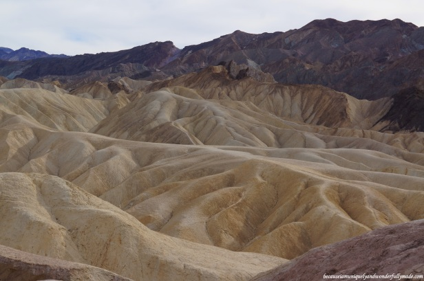 Zabriskie Point is composed of sediments from Furnace Creek Lake, which dried up 5 million years ago - long before Death Valley came into existence.