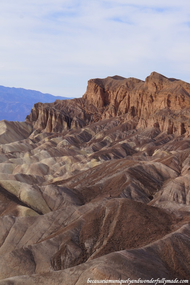 A close-up of the Red Cathedral at Zabriskie Point in Death Valley National Park in California.