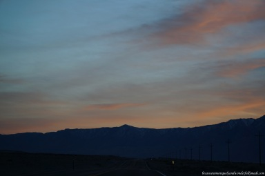 The beautiful sunset as we headed out of Death Valley National Park.