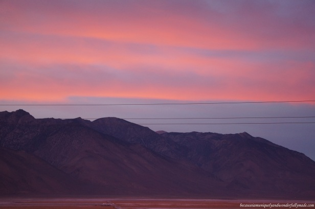 A beautiful palette of sunset colors as we headed out of Death Valley National Park and proceeded to Bakersfield, California to spend the night at.