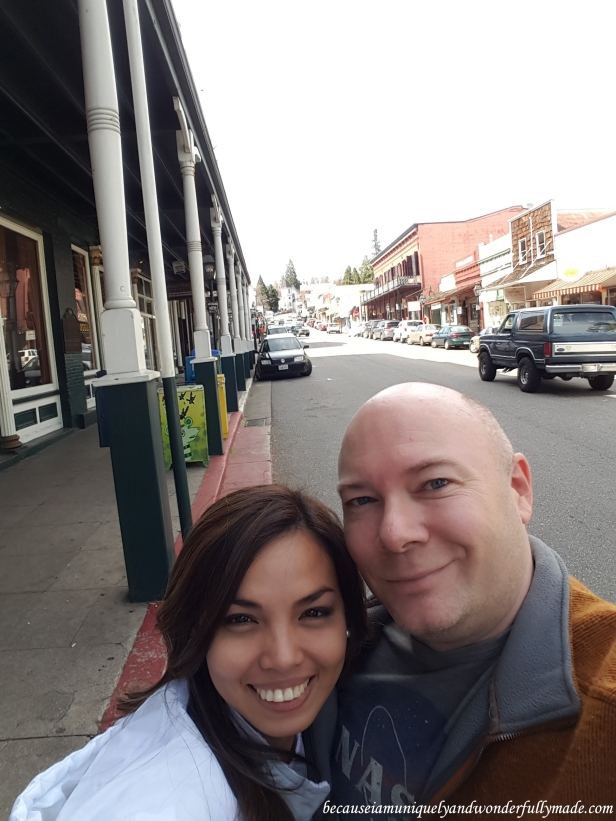 Strolling around downtown Nevada City, California.