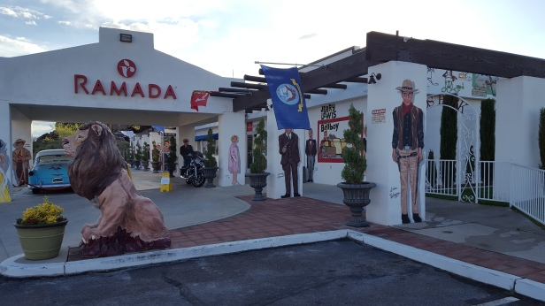 The nostalgia of Route 66 are reflected in some hotels like the Ramada in Kingman, Arizona.