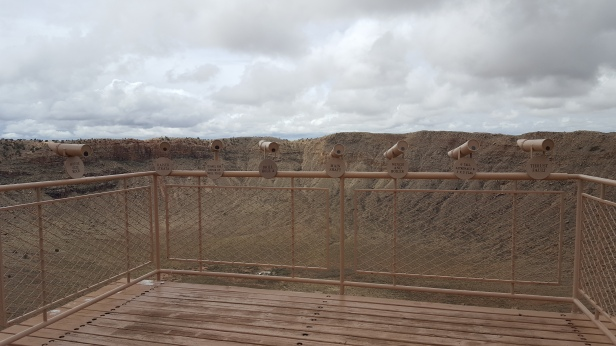 Interpretative signs and observation telescopes for a closer look of the crater are available at Meteor Crater in Arizona.