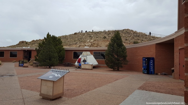The Astronaut Memorial Park in Meteor Crater with a display of the actual Apollo Test Capsule.