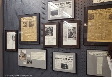 Articles about flying saucers and UFOs at International UFO Museum and Research Center in Roswell, New Mexico.