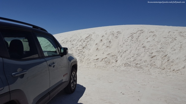 Dunes range in heights. In this photo, the dune where we parked at was over the height of our car. The highest dunes at White Sands National Monument are approximately 60 ft (18 m) high.