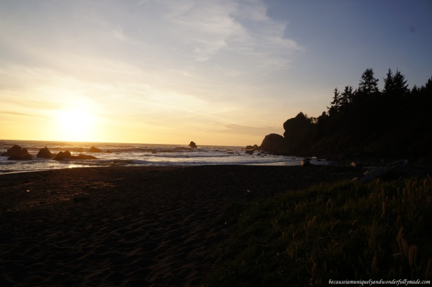 Deeper shade of sunset as dusk approaches at Wilson Creek Beach, Klamath, California