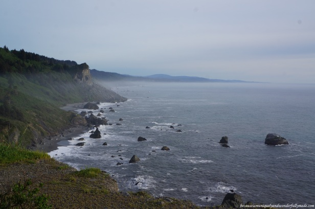 A slightly visible mist crawling from the coast to the end stretch of the Pacific Ocean as viewed from the High Bluff Overlook.