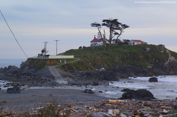 The Battery Point Lighthouse at Crescent City, California. The lighthouse is constructed on a tiny islet which can be traversed on foot at low tide.