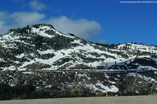 Snow dusted mountains in Northern California like Donner Peak are famous for ski adventures.