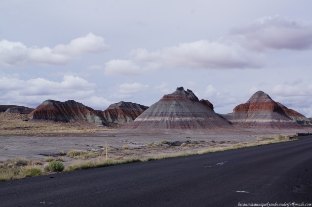 Natural formation of colorful mounds called the Teepees at Petrified Forest National Park in Arizona. This was taken on the side of a road.