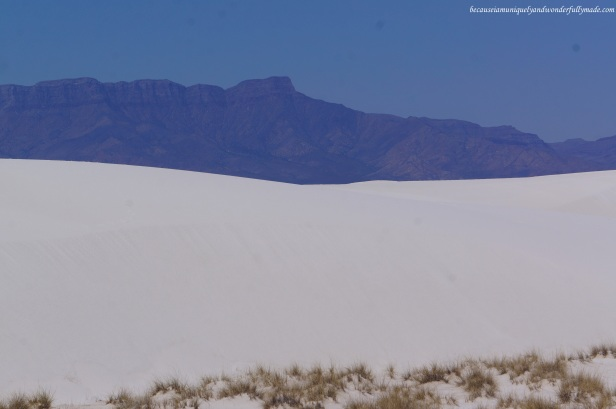 The gypsum (rocks) of New Mexico White Sands National Monument are from the surrounding mountains of the basin - San Andres on the West and Sacramento Mountains on the East.