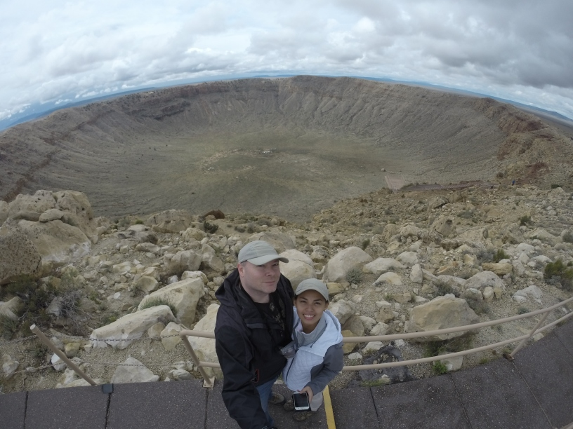 Standing atop of the rim of the Meteor Crater in Arizona.