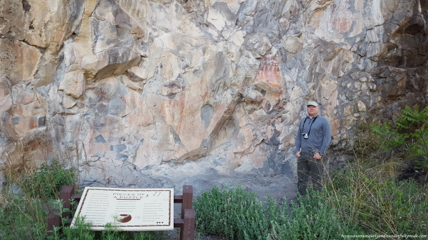 The pictographs at the end of the Trail to the Past in Gila National Forest which were painted with a mixture of water and hematite,the oldest known iron oxide mineral that has ever formed on earth.
