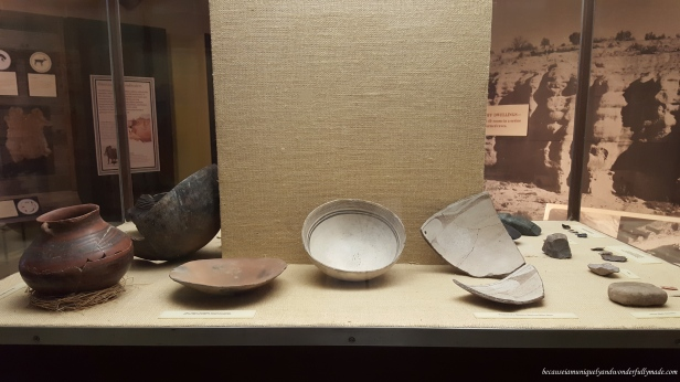 Some of the hand made pottery exhibits at Gila Visitor Center crafted by Zuni, Apache, Hopi, and other regional tribes.