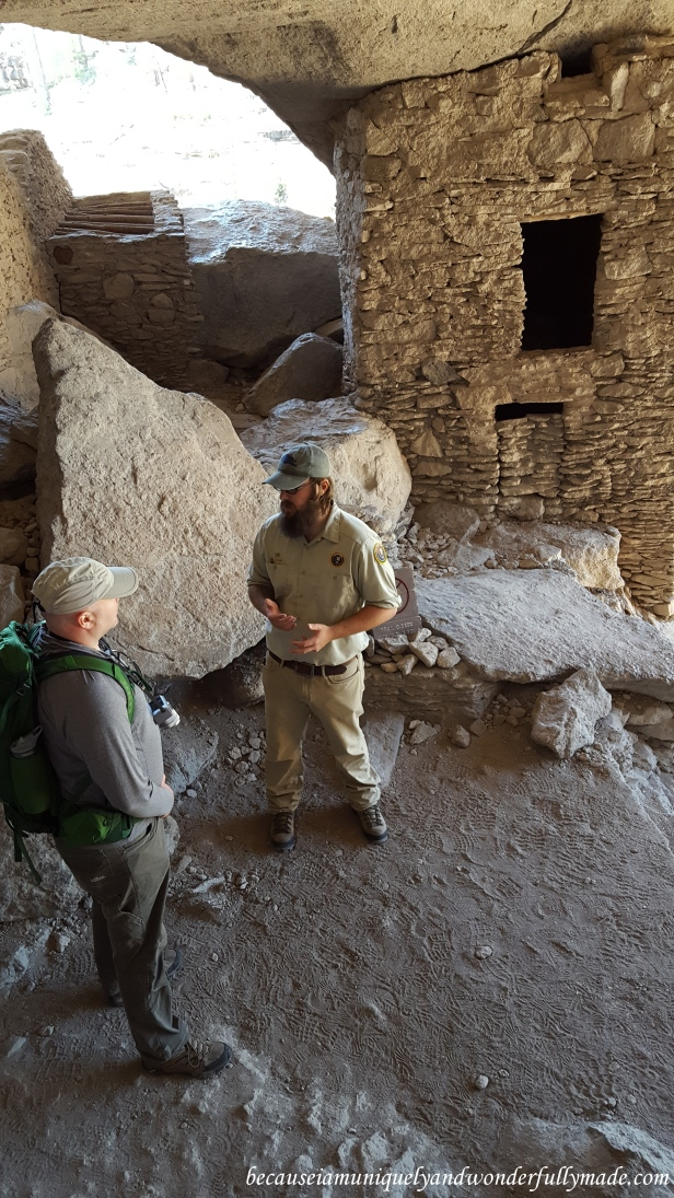 Enjoying a deep conversation with our park ranger at Gila Cliff Dwellings National Monument.