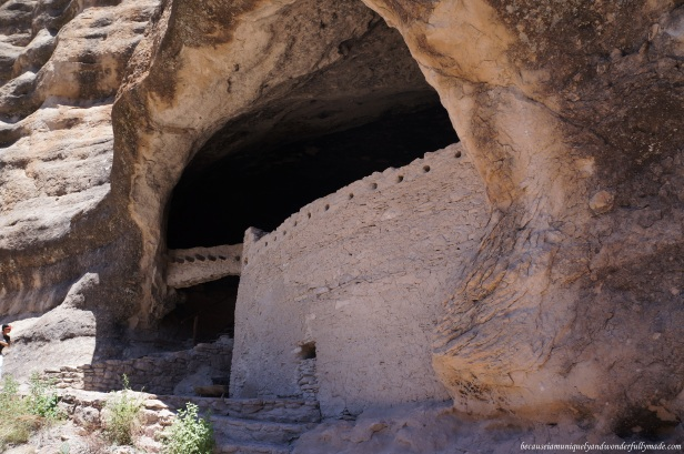 In addition to the natural protection provided by a cliff, the absence of doors and windows to the rooms on the ground floor of Gila Cliff Dwellings left a solid outer stone wall that could be surmounted only by climbing a ladder. Ladders could easily be removed if being attacked.