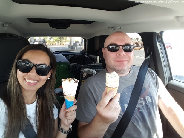 Cooling off with cones of ice cream at one of our stops during our drive from Saguaro National Park in Tucson, Arizona to Joshua Tree National Park in California.